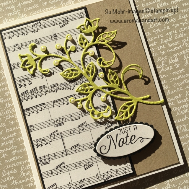 #sheetmusic #Flourishingphrases #flourish #lemonlimetwist #stampinup #notecard