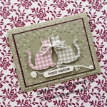 Gingham Punch Cats Anniversary Card