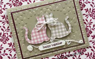 By Su Mohr; Featuring: Cat Punch, Sweetheart embossing folder, Succulent Gardens; For more details click through to my blog! #catpunch #cats #gingham #sweetheart #happytogether #anniversarycards