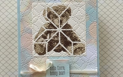 By Su Mohr for the Sisterhood of Crafters; Featuring: Baby Bear, Quilt Builder Dies, Quilts, A Little Wild, Stitched Shapes; For more details click through to my blog! #babybear #babycard #babyboy #quiltbuilder #alittlewild #welcometotheworld