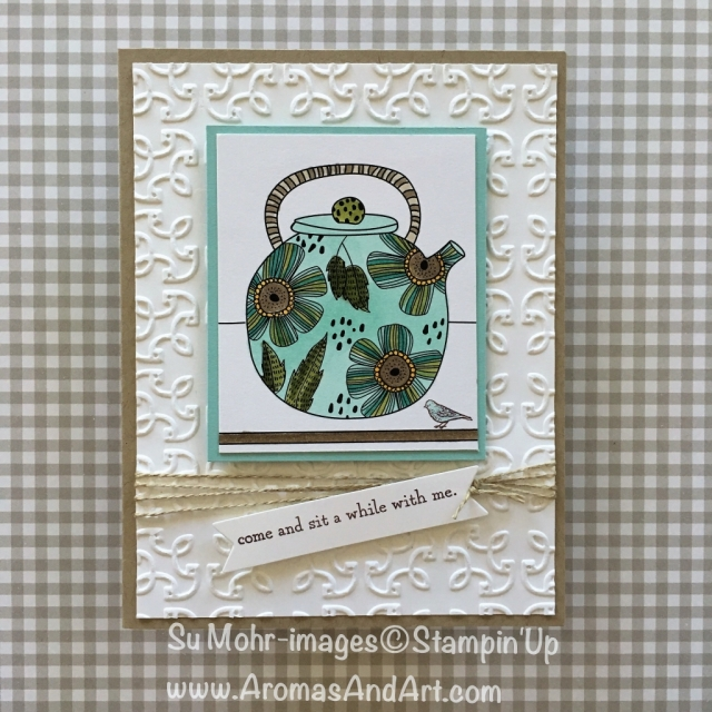 By Su Mohr for Kylie's Top Ten; Featuring: Just Add Color, Stampin' Blends, Garden Trellis Embossing Folder, Sitting Here, Linen Thread; For more details click visit to go to my blog! #stampinblends #sittinghere #justaddcolor #gardentrellisembossingfolder