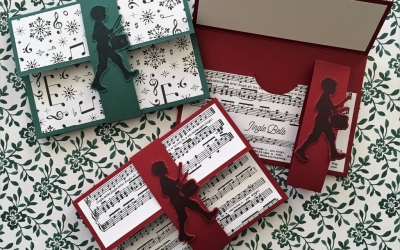 By Su Mohr for TGIF; Featuring: Musical Seasons, Musical Instruments, Merry Music; For more details click visit to go to my blog! #the perfect christmasgift #stampinup #littledrummerboy #giftcardholders #musicalseasons