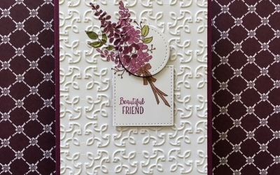 Lots of Lavender for CTS251; Featuring: Lots of Lavender, Stampin' Blends, Garden Trellis embossing folder, Stitched Shapes; For more details click visit to go to my blog! #lotsoflavender #essentialoils #stampinblends #stampinup #youngliving