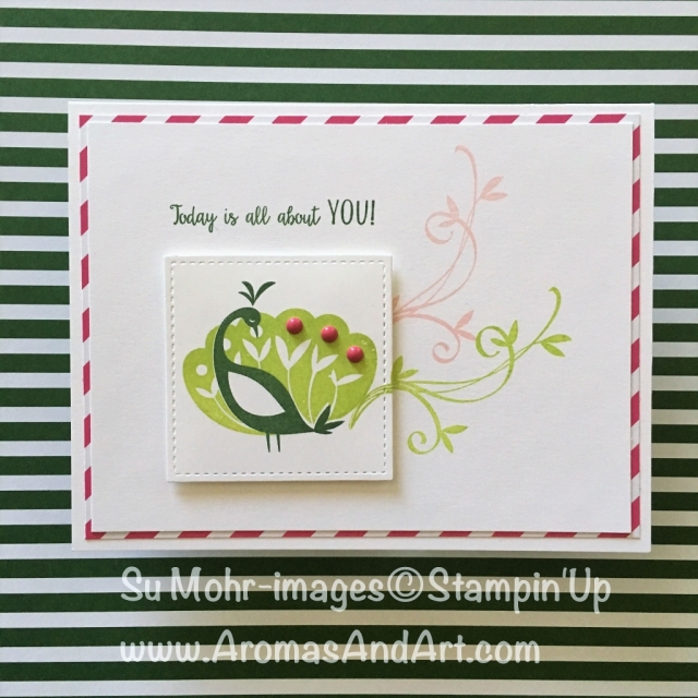 By Su Mohr for Paper Players; Featuring: Beautiful Peacock; Stitched Shapes; For more details click visit to go to my blog! #stampinup #beautifulpeacock #occasions2018 #saleabration #birthdaycards