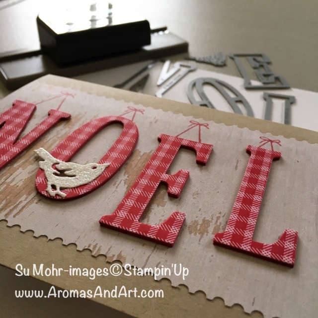 By Su Mohr for FabFri127; Featuring: Large Letters, Birds and Blooms, Wood Texture, Christmas Quilt, At Home With You, Hearts Come Home; For more details click visit to go to my blog! #christmascards #noel #largeletters #christmasquilt #tickettearpunch