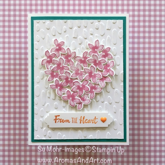 By Su Mohr for GDP121; Click Visit to go to my blog for details; Featuring: Sweetheart embossing folder, Petal Palette, Petals & More; #valentine card #stampinup #petalpalette #gdp121
