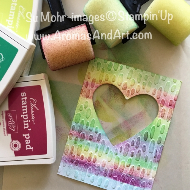 By Su Mohr for Fab Friday; Click visit to go to my blog for details! Featuring: Sweetheart embossing folder, Birthday Friends, Birthday Delivery, Sponge Brayers, Sure Do Love You; #valentinesday #sweetheart #stampinup #suredoloveyou #sealedwithlove