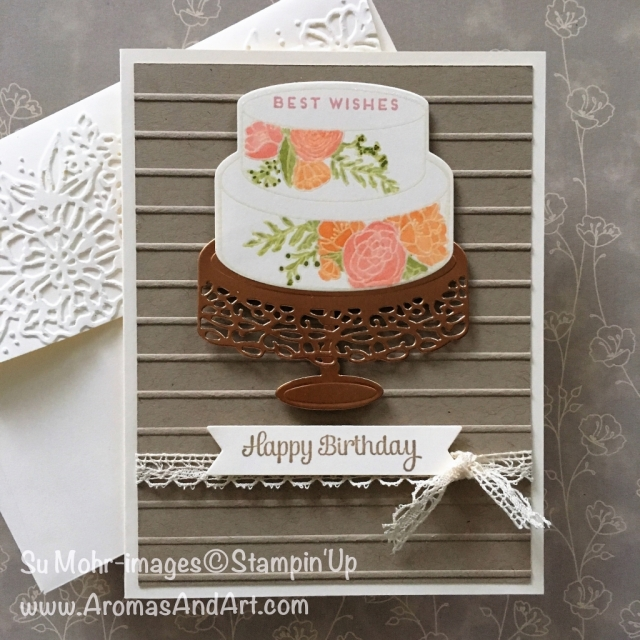 By Su Mohr for Kylie's Highlights; Click visit to go to my blog for the details! Featuring: Cake Soiree, Simple Stripes embossing folder, Stampin' Blends; Stampin Up; #kyliebertuccishighlights #voteforme #stampinup #birthdaycard #stampinblends #cakesoiree