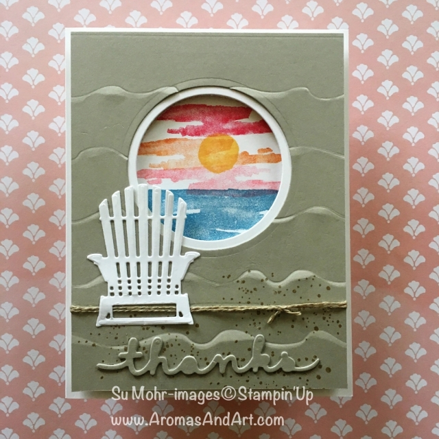 By Su Mohr for Kre8tors Blog Hop; For details click on visit to go to my blog; Featuring: Waterfront, Seasonal Layers, Layering Circles; #stampinup #kre8torsbloghop #seasonallayers #watercolor