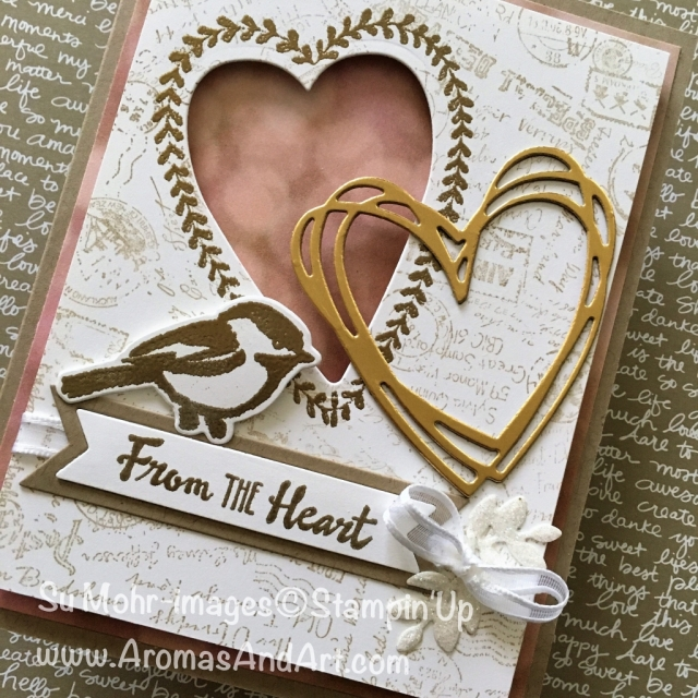 By Su Mohr for January 2018 Pals Blog Hop; Click visit to go to my blog for details; Featuring: Petal Pallette, Sunshine Wishes, Post Script, Bunch of Banners, Petals & More, Lots To Love Box dies, Sure Do Love You, Gold Foil; #stampinup #palsbloghop #valentines