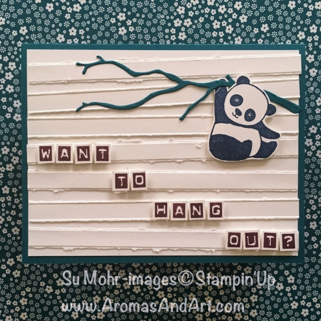 By Su Mohr for #tgifc141; For details click visit to go to my blog; Featuring: Party Pandas, Labeler Alphabet, Simple Stripes Embossing Folder, Seasonal Layers; #tgifc141 #stampinup #labeleralphabet #partypandas #saleabration #occasions2018