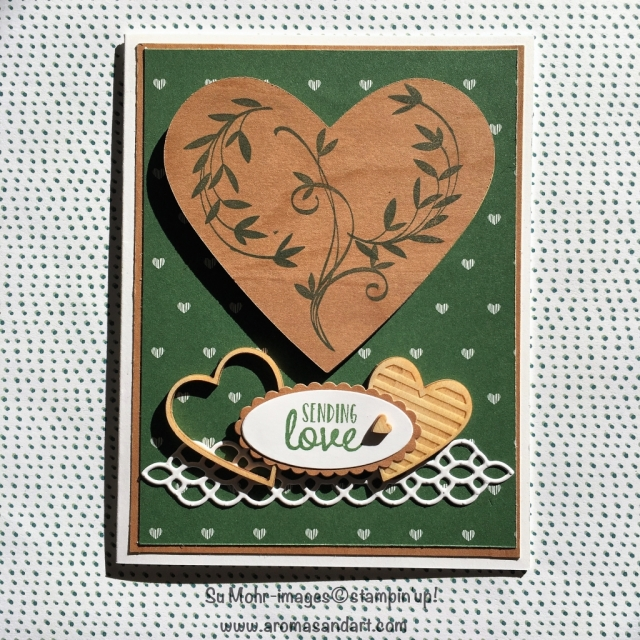 By Su Mohr; click visit to go to my blog for details; Featuring: Wood Textures DSP, Hearts and Stars Elements, Beautiful Peacock, Coffee Break DSP, Heart Dies, Layering Ovals, Petals & More Dies; #vslentinesdaycard #stampinup #woodtextures #beautifulpeacock #layeringovals #petalsandmore #coffeebreak