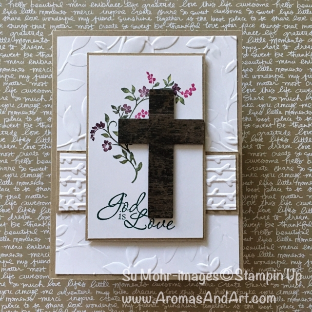By Su Mohr for PP382: Click visit to go to my blog for details: Featuring: Hold on to Hope, Cross of Hope, Trust God, Stampin' Writes, Layered Leaves, Petal Pair; 3eastercards #stampinup #holdontohope #crossofhope #trustgod #layeredleaves #woodencross