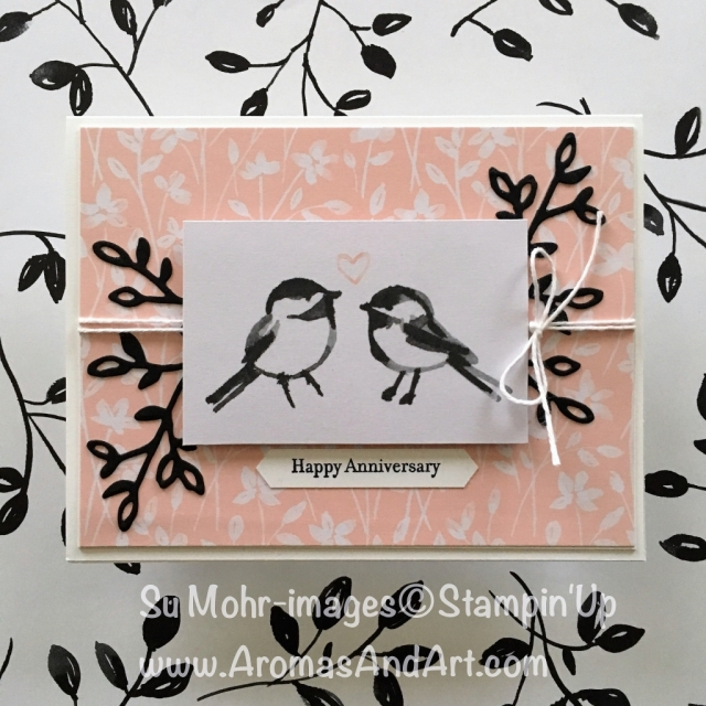 By Su Mohr for Feb Pals Blog Hop; Click visit to go to my blog for details! Featuring: Petal Passion Memories & More Card Pack, Petals & More Dies, Teeny Tiny Wishes, Classic Label Punch, Baker's Twine; #anniversarycard #petalsandmore #memoriesandmore #palsbloghop #stampinup #petalpassionmemoriesandmorecardpack