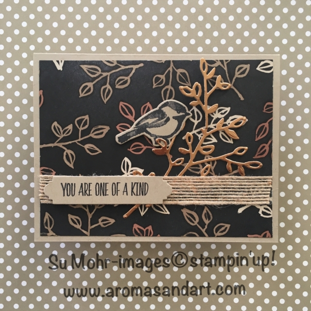 By Su Mohr for tttc033; Click visit to go to my blog for details; Featuring: Petal Palette, Petals & More, Petal Passion, Stampin' Blends; #birthdaycard #stampinup #petalpalette #birds #copperfoil #designerseriespaper