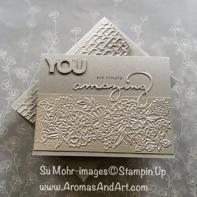 By Su Mohr; Click visit to go to my blog for details! Featuring: Amazing You, Celebrate You, champagne foil, Sale-A-Bration; #amazingyou #celebrateyou #stampinup #sumohr #youaresimplyamazing #champagnefoil