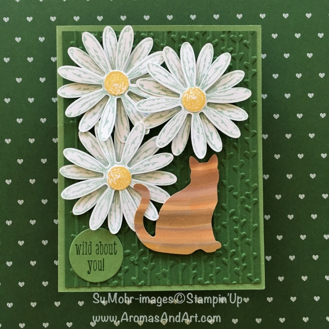 By Su Mohr for the Remarkable InkBig Blog Hop; Click visit to go to my blog for the details! Featuring: Cat Punch, Daisy Punch, Stampin' Blends, Petal Pair embossing folder, A Little Wild
