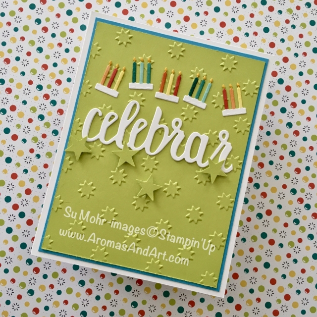 By Su Mohr for tttc034 and cts258; click visit to go to my blog for details; Featuring: Celebrate You Dies, Celebration Dies, Oh My Stars embossing folder; #celebrateinSpanishiscelebrar #birthdaycard #spanish #cardsinspanish