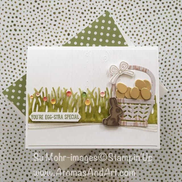 By Su Mohr for tttc039 and CTS263: Click visit to go to my blog; Featuring Basket Builder Dies, Basket Bunch Stamp Set, Pinewood Planks Embossing Folder, Gold Foil; #eastercards #basketbunchstampset #baskets #stampinup