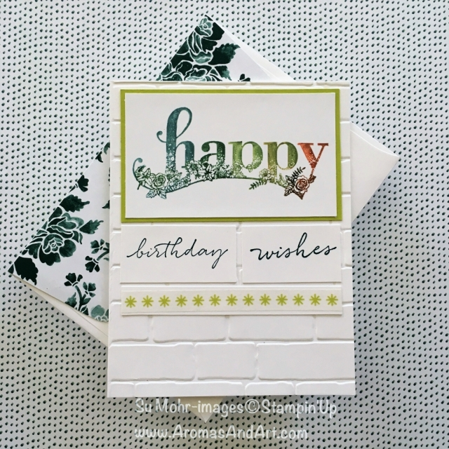 By Su Mohr for tgifc152 and cts254; Click visit to go to my blog for details! Featuring: Happy Wishes Stamp Set, Brick Wall Embossing Folder, Marker to Stamp Technique; #markertostamptechnique #birthdaycards #brickwall #markers #stampinup #challenges