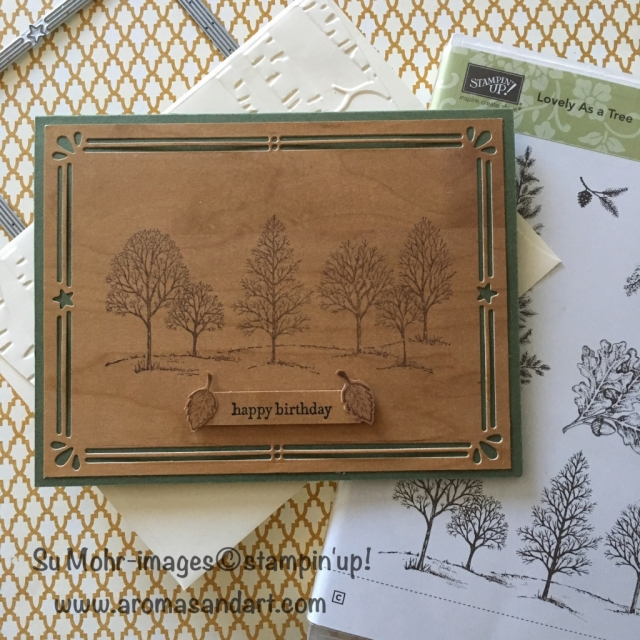 By Su Mohr for Kre8tors Blog Hop; Click on visit to go to my blog for details; Lovely as a Tree, Wood Textures paper, Card Front Builder Dies, Teeny Tiny Wishes, Classic Label Punch, Woodlands Embossing Folder; #lovelyasatree #woodtextures #cardfrontbuilderdies #teenytinywishes #birthdaycards #woodlands #kre8tors
