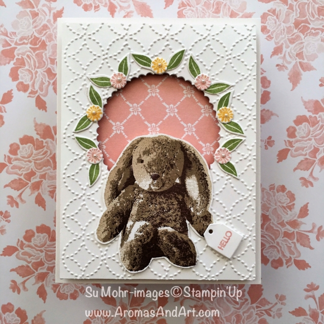 By Su Mohr for Kylie's April Highlights; Click visit to go to my blog for details! Featuring: Sweet Little Something, Quilt Top Embossing, Beautiful Bouquet, Beautiful Bunch; #sweetlittlesomething #babycards #stampinup #beautifulbouquet #kyliebertucci #voteforme #stuffedanimals