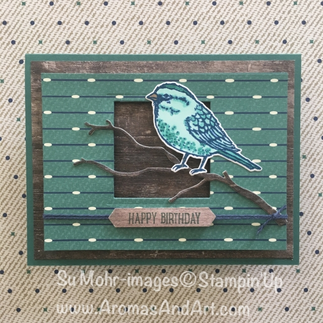 By Su Mohr for Paper Players; Click Read It to go to my blog for details! Featuring: Best Birds, Wood Textures, Seasonal Layers, True Gentleman, Adhesive Strips; #masculinebirthdaycard #birdsoncards #stampinup #woodtextures #seasonallayers #birthdaycards #handmadebirthdaycards #diy