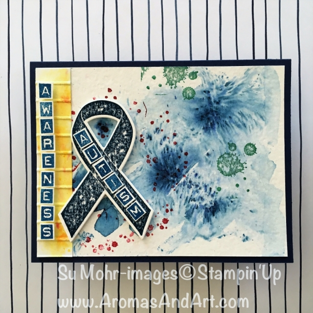 By Su Mohr for Autism Awareness Blog Hop; Click visit to go to my blog for details! Featuring: Ribbon of Courage, Brusho Crystal Colour, Labeler Alphabet; #autismawareness #ribbonofcourage #labeleralphabet #stampinup #brushocrystalcolour