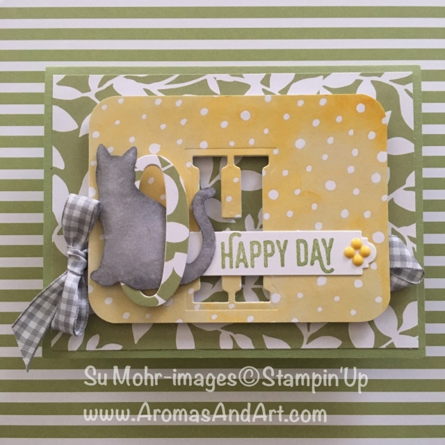 By Su Mohr for PP390 and GDP135; Click Read It to go to my blog for the details! Featuring: Cat Punch, Large Letter Dies, Gingham Ribbon; #ohhappyday #cats #catpunch #sunshine #gingham