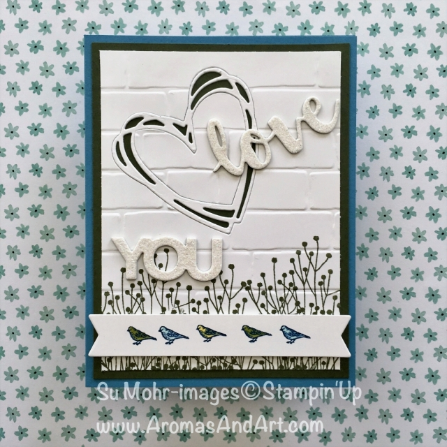 By Su Mohr for cts267; Click visit to go to my blog for details; Featuring: Sunshine Wishes, Celebrate You, Sitting Here, Enjoy Life; #sunshinewishes #celebrateyou #sittinghere #birds #enjoylife #stampinup #brickwall