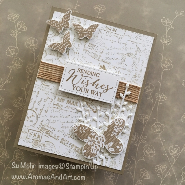 By Su Mohr for cts269; Click Read It to go to my blog for details! Featuring: Butterfly Basics, Butterflies Die Set, Post Script Background Stamp, Petals & More, Burlap Ribbon, Stampin' Up!; #butterflies #butterflybasics #postscript #petalsandmore #stampinup #retiring #sendingwishesyourway