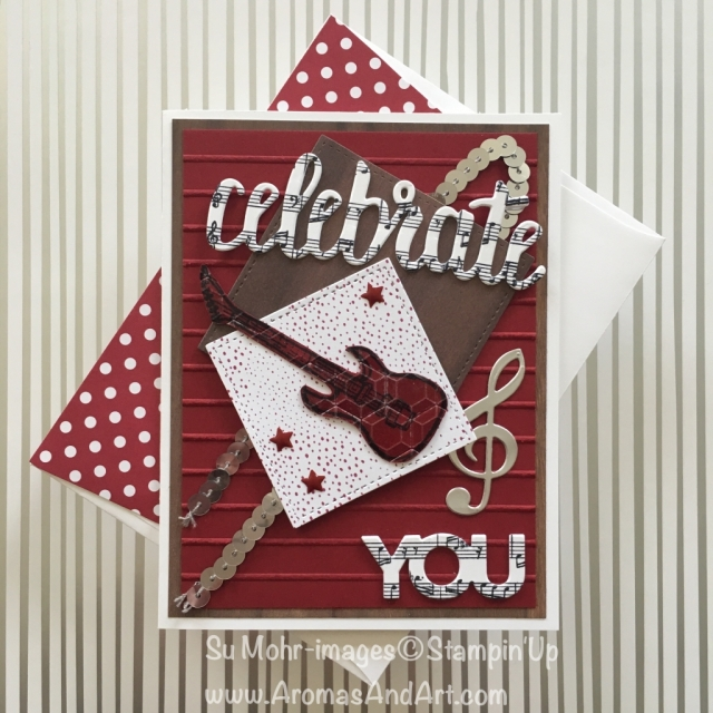 By Su Mohr; Click Read It to go to my blog for the details! Featuring: Celebrate You, Happy Birthday, Epic Celebrations, Wood Textures, Musical Instruments, Sheet Music; #birthdaycards #musicalbirthdaycards #sheetmusic #bassguitar #celebrateyou #musicalinstruments