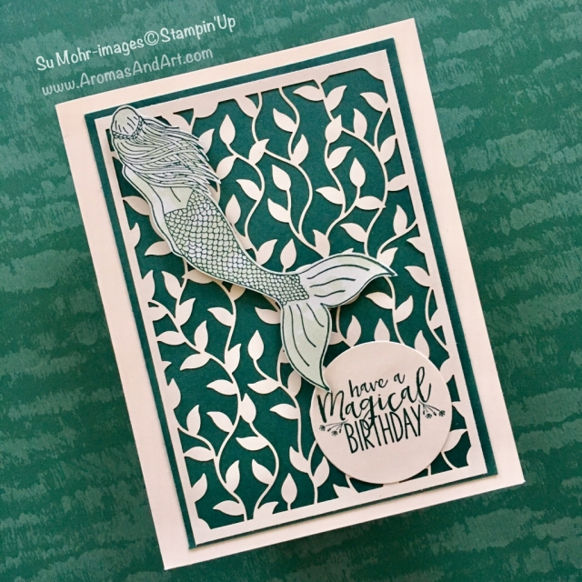 "By Su Mohr for PP389; Click ""read it"" to go to my blog for details; Featuring: Magical Mermaid, Delightfully Detauiled Laser-Cut Specialty Paper, Tranquil Textures, layering Circle Dies; #magicalmermaid #birthdaycards #juvenile #lasercutpaper #stampinup"