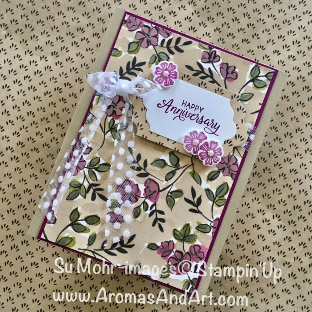 "By Su Mohr for tttc044 and GDP134; Click ""read it"" to go to my blog for details! Featuring: Share What You Love, Lots of Labels, Beautiful Bouquet, Polka Dot Tulle Ribbon; #anniversarycards #sharewhatyoulove #polkadottulleribbon #lotsoflabels #stampinup"