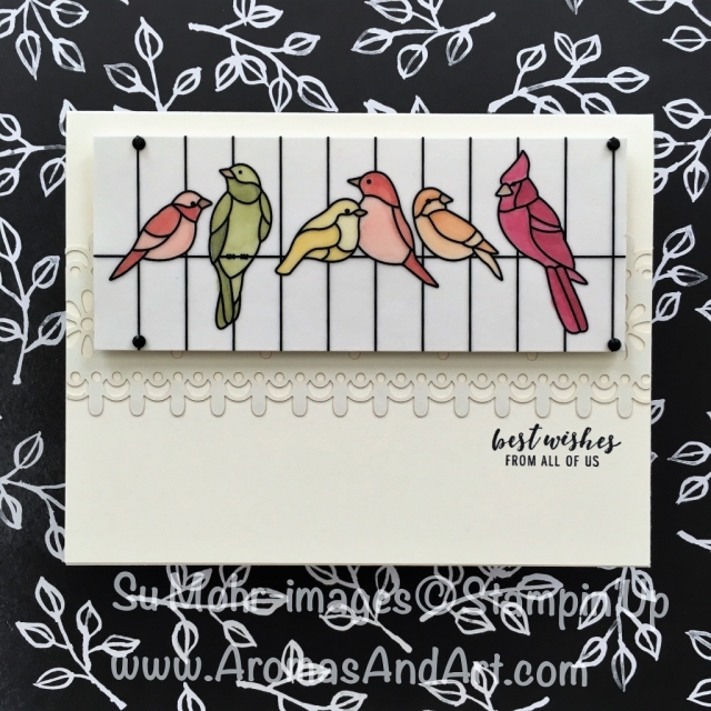 By Su Mohr for Paper Players and Fab Fri; Click Read to go to my blog for details! Featuring: Graceful Glass Designer Vellum; Stampin' Blends; Delightfully Detailed Laser-Cut Specialty Paper, Itty Bitty Greetings; #birdsinacage #bestwishesfromallofus #ittybittygreetings #lasercutpaper #homemadecards #diy