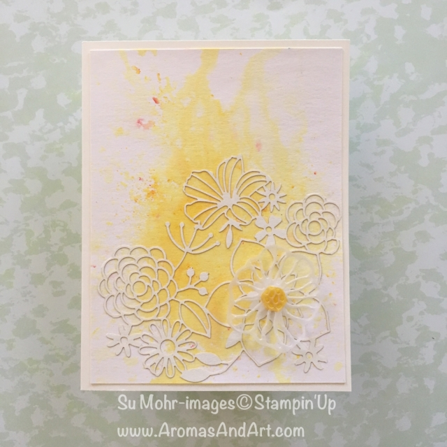 By Su Mohr for cts272; Click Read to go to my blog for details! Featuring: Delightfully Detailed Laser-Cut Specialty paper, Brusho Crystal Color, Eclectic Layers; #brushocrystalcolor #alloccasioncards #stampinup #lasercutpaper