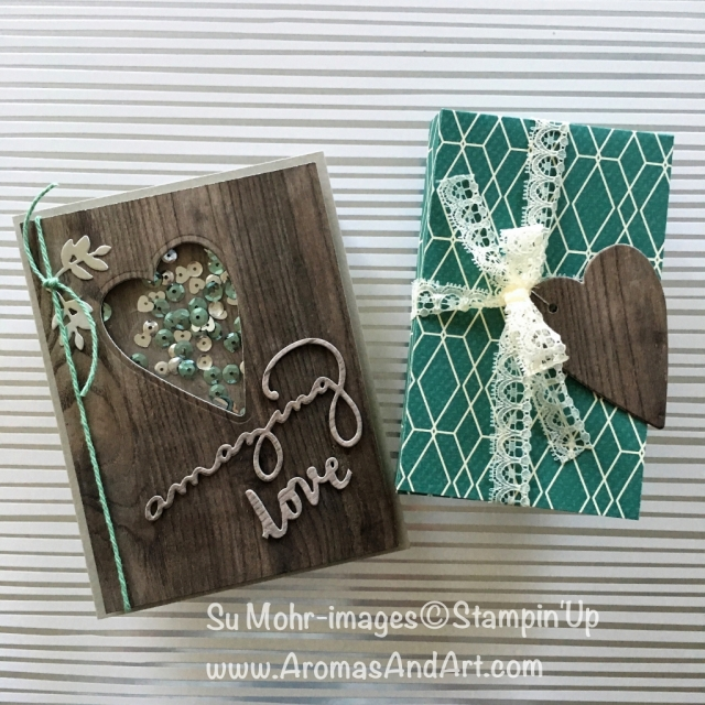 By Su Mohr for Kre8tors Blog Hop; Click Read to go to my blog for details! Featuring: Lots To Love Box, Wood Textures, shaker card, Celebrate You, Lovely Words, Number of Years, True Gentleman; #anniversarycards #woodtexture #shakercards #stampinup #numberofyears #lovelywords #lotstolovebox
