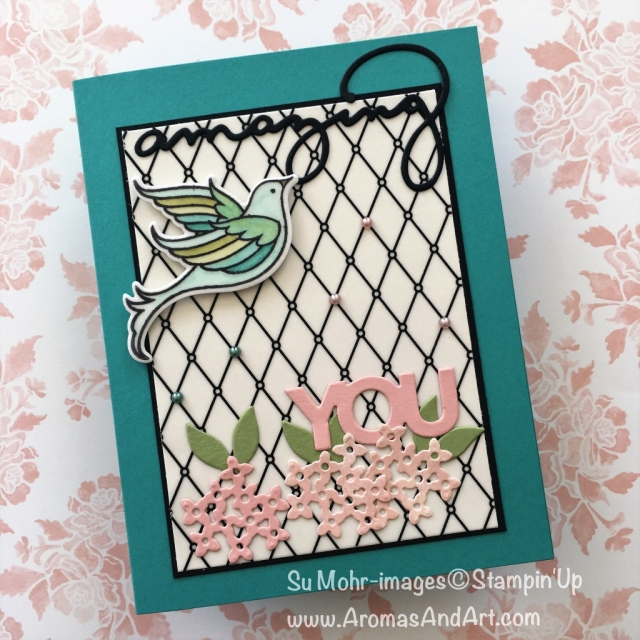 By Su Mohr for Kylie's June 2018 Blog Highlights; Click READ to go to my blog for details! Featuring: Serene Carden, celebrate You, Graceful Glass, Stampin' Blends, Bouquet Bunch; #kyliebertucci, #serenegarden #birds #celebrateyou #bouquetbunch #petalpalette #gracefulglass #stampinup