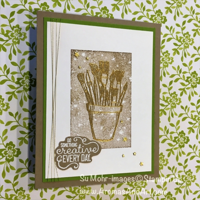 By Su Mohr for GDP143; Click READ to go to my blog for details! Featuring: Crafting Forever, Bokeh Dots, heat embossing; #craftingforever #loveitliveitshareit #stampinup #heatembossing #paintbrushes #artonacard