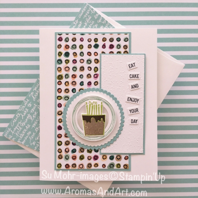 By Su Mohr for PP399; Click READ to go to my blog for details; Featuring: Blow Out the Candles, Layering Circles dies, Swirly Frames, Subtle embossing folder, Share What You Love paper; #blowoutthecandles #birthdaycake #birthdaycards #handmade #diy #stampinup #swirlyframes