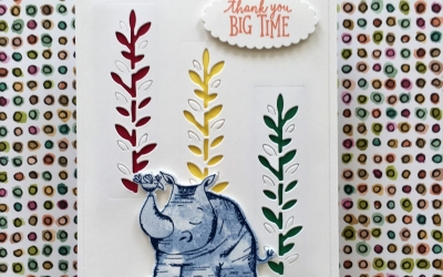 By Su Mohr for FF140; Click READ to go to my blog for details! Featuring: Animal Outing, new colors, Bokeh Dots; #bokehdots #animalouting #rhino #babycards #thankyoucards #stampinup #incolors