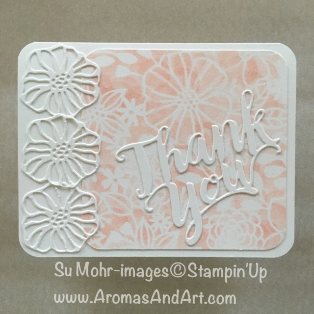 By Su Mohr for Pals July Blog Hop; Click READ to go to my blog for details! Featuring: Delightfully Detailed Laser-Cut DSP, Thank You die, Detailed Trio Punch, Subtle embossing folder, #delightfullydetailedlasercutpaper #detailedtriopunch #thankyoucards #stampinup #palsbloghop #handmadecards