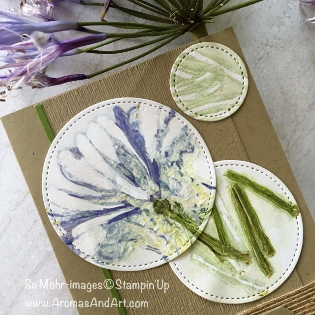 By Su Mohr for tgifc168; Featuring: Big Shot, Stitched Shape dies, burlap Ribbon, Subtle embossing folder; Click READ to go to my blog for details! #bigshot #botanicalpress #agapanthus #pressedflowers #stitchedshapes #sympathycards #flowersoncards