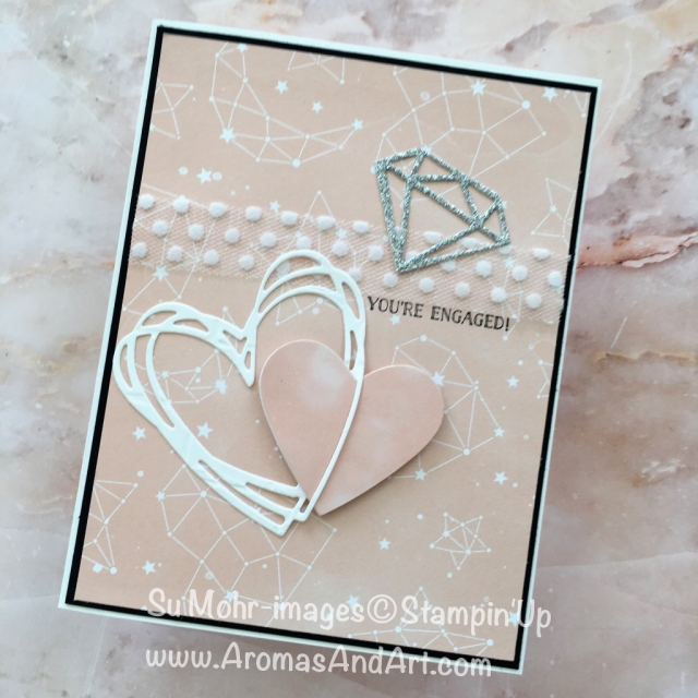 By Su Mohr for cts281 and #inspiredbycolor; Click READ to go to my blog for details! Featuring: twinkle Twinkle DSP, Eclectic Layers, Sunshine Wishes; #inspiredbycolor #cts281 #engagementcards #diamonds #stampinup #handmadecards