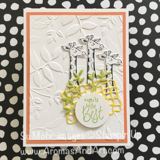 By Su Mohr for TGIF167 and Fab Fri141; Click READ to go to my blog for details! Featuring: Animal Outing, Label Me Pretty, Layered Leaves; #animalouting #giraffesoncards #handmadecards #stampinup #diy #crafts