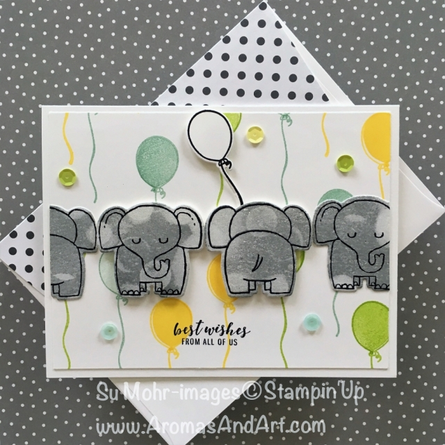 By Su Mohr for PP400 and Seize the Birthday; Click READ to go to my blog for details! Featuring: A Little Wild, Blow Out the Candles, Bokeh Dots, Itty Bitty Greetings; #alittlewild #bokehdots #blowoutthecandles #birthdaycards #elephants #elephantcards #diy #handmadecards #stampinup