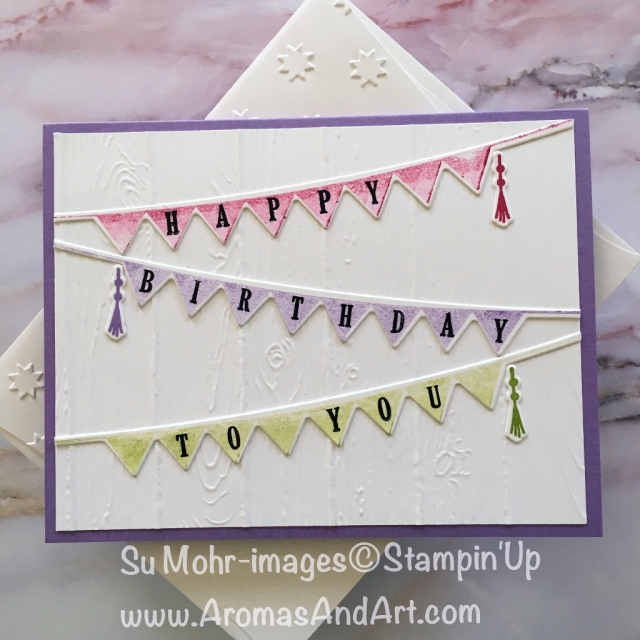 By Su Mohr for PP401; Click Read to go to my blog for details! Featuring: Playful Pennants, Pick a Pennant, Wood Grain embossing; #happybirthdaypennants #playfulpennants #pickapennant #birthdaycards #woodgrain #newcolors
