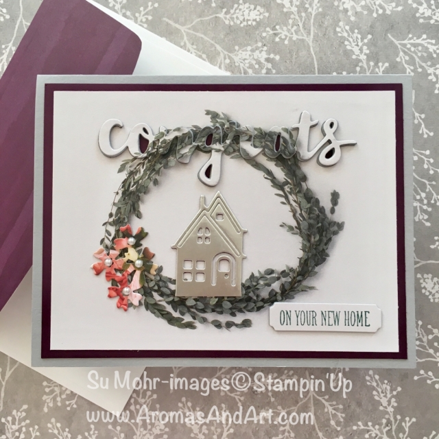 By Su Mohr for Kylie's Highlights; Click READ to go to my blog for details! Featuring: Hometown Greetings, Petal Promenade DSP, At Home with You, Sunshine Wishes, Bouquet Bunch; #celebrations #stampinup #newhomecards #voteforme #kyliebertuccisinternationalhighlights #handmadecards