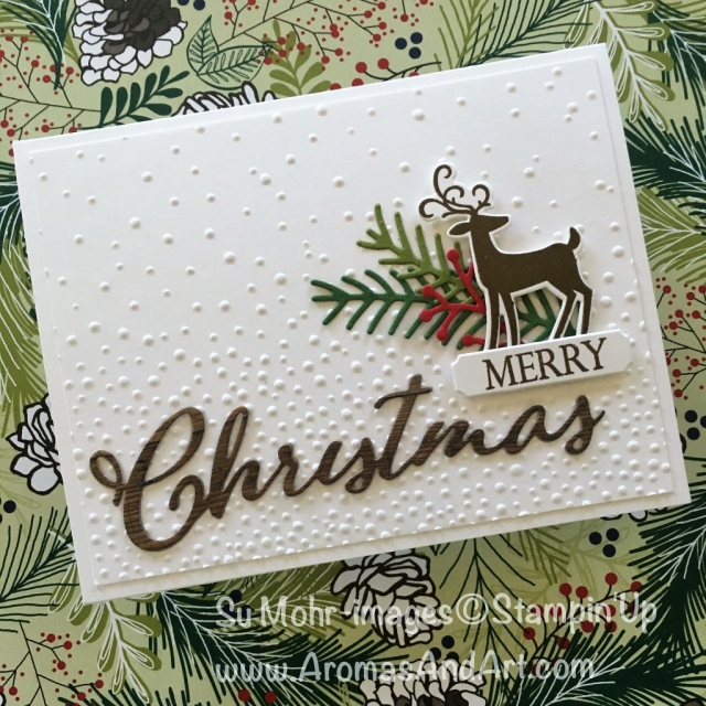 By Su Mohr for cts286; Click READ to go to my blog for details! Featuring: Merry Christmas To All, Wood Textures, Dashing Deer, Softly Falling, Pretty Pines; #merrychristmastoall #christmascards #handmadecards #dashingdeer #prettypines #softlyfalling #stampinup #holidaycatalog2018