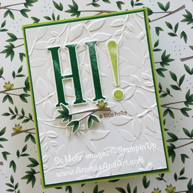 By Su Mohr for GDP150 and PP404; Click READ to go to my blog for details! Featuring: Animal Outing, Animal Expedition, Large Letters, Letters for You, Layered Leaves, frogs, handmade cards, Stampin' Up!